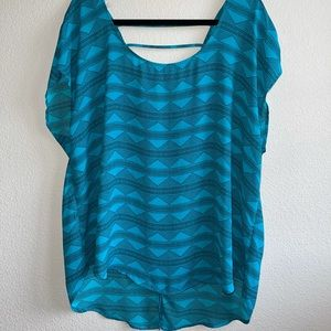 Torrid Turquoise Aztec Open Back Top Plus Size